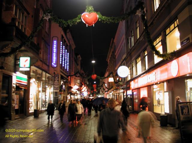 コペンハーゲン市内夜の中心街