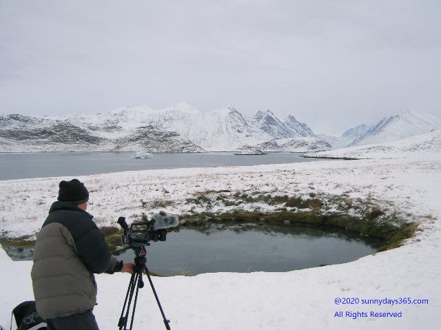 北限の温泉の撮影風景