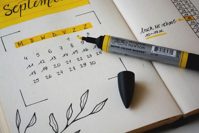 マーキングされたカレンダー