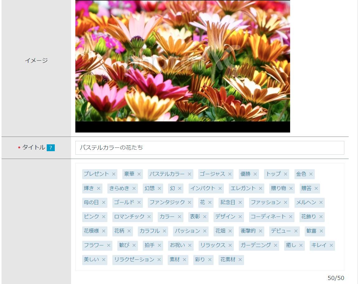 投稿した写真と50個のキーワード