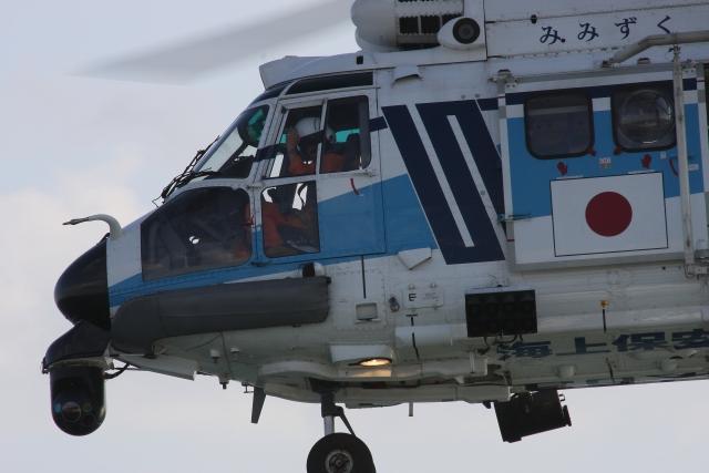 海上保安庁ヘリのコクピット付近